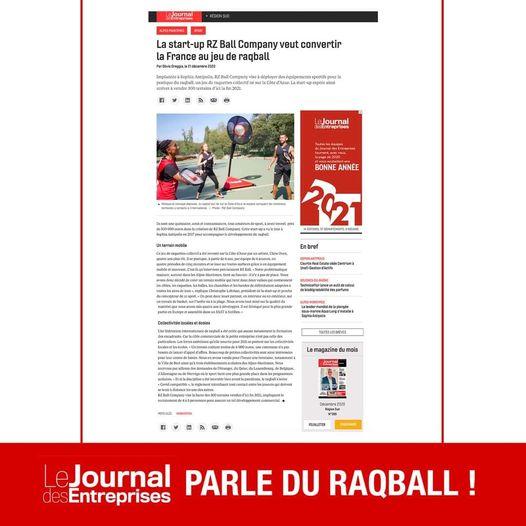 Le journal des entreprises parle du Raqball !